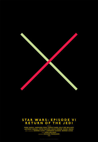 <p>Krasnopolski had been hard at work on a minimalist poster design project for months, but was getting nowhere. Frustrated and about to throw in the towel, he sketched out two diagonal lines, one red and one green, that would become the basis for the <em>Return of the Jedi </em>poster.</p>