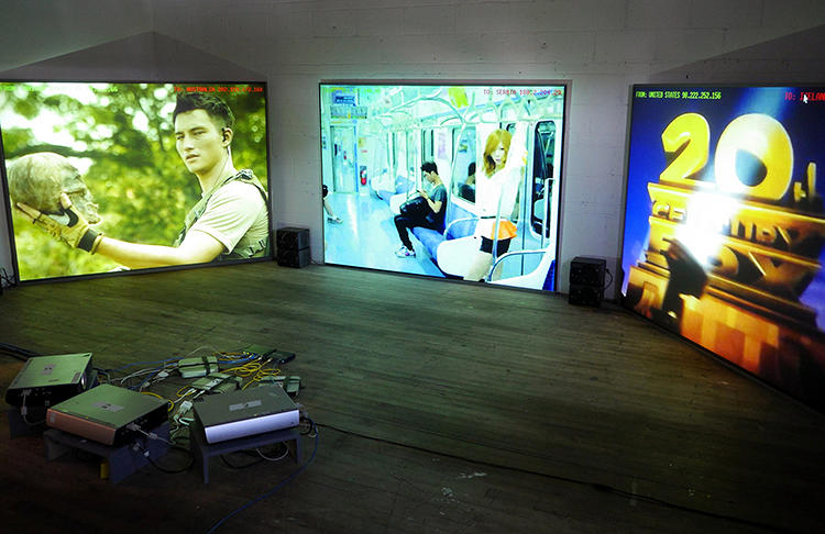 <p>The Pirate Cinema, an installation by  <a href=&quot;http://peripheriques.free.fr/blog/&quot; target=&quot;_blank&quot;>Nicolas Maigret</a> and <a href=&quot;http://wintermute.org/brendan/&quot; target=&quot;_blank&quot;>Brendan Howell</a>, plays only the videos being torrented at that moment.</p>