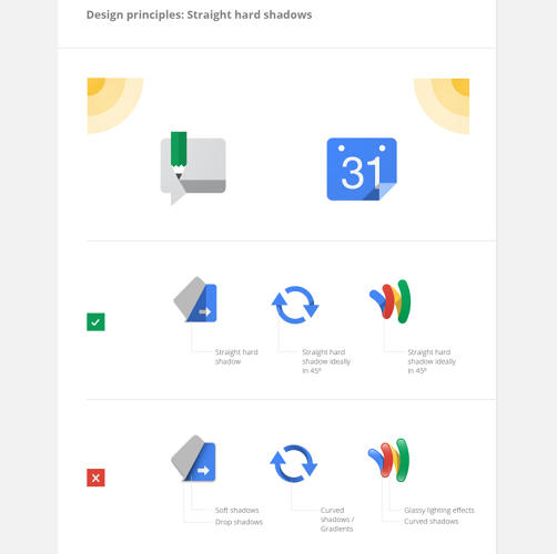 <p>This section shows how Google has kept things looking fresh and light while Apple got bogged down in fake felt and leather. It encourages straight, hard shadows over drop shadows, glossy textures, and eye-catching effects.</p>