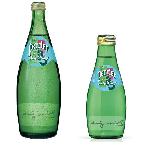 <p>The 40 or so prints Warhol produced make playful use of Perrier's signature teardrop bottles and plot them on bold colorful backgrounds.</p>
