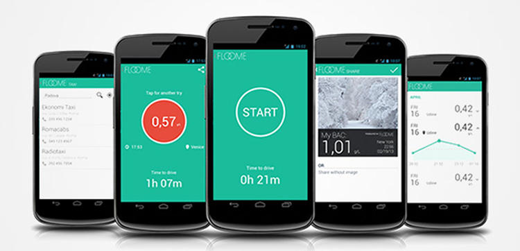 <p>The Floome app will register your results on your phone screen, giving you your BAC level.</p>