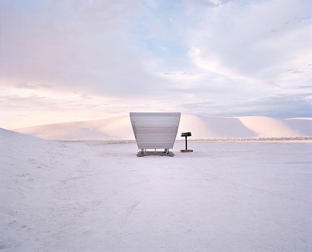 "<p>Ford's favorite subject is the pit stop in White Sands, New Mexico: ""It's crazy: You're just driving to the middle of the desert, you turn in to this park, and it's like you're in the middle of a blizzard. And there's a cool little 1960s picnic table there on that landscape.""</p>"