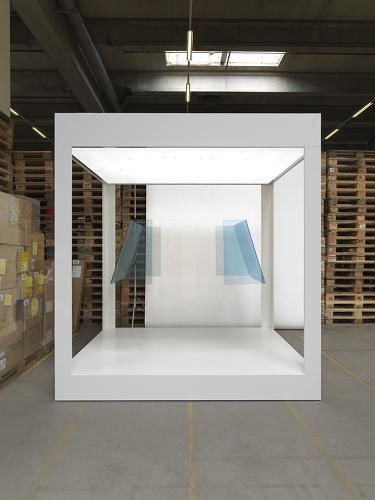 <p>The most abstract, deconstructed piece in the series includes only the bright blue Plexiglas windows from the original gondolas.</p>