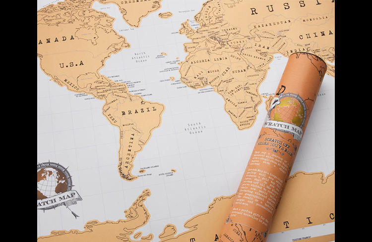 <p>The map's continents are covered in a layer of gold foil, which, when rubbed away…</p>