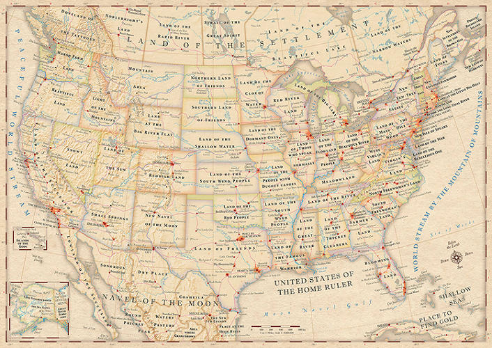 <p>This is a map of the U.S., with the literal meanings of its state names and cities.</p>