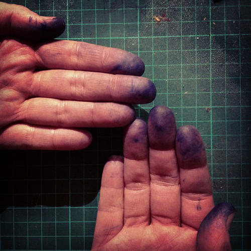 <p>Actual, IRL inky hands, fresh from stamping.</p>