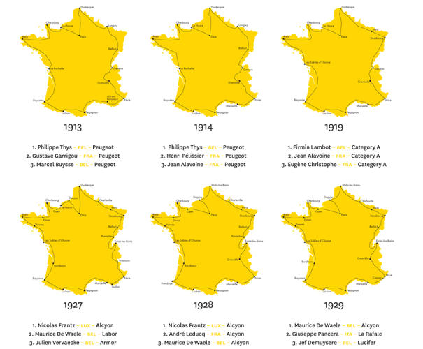 <p>The Tour de France is a complicated competition--stages, teams, and sponsorships are ever-changing--but <em>100 Tours: Cent Ans de la Grand Boucle</em> stays closely trained on one layer of information: routes.</p>