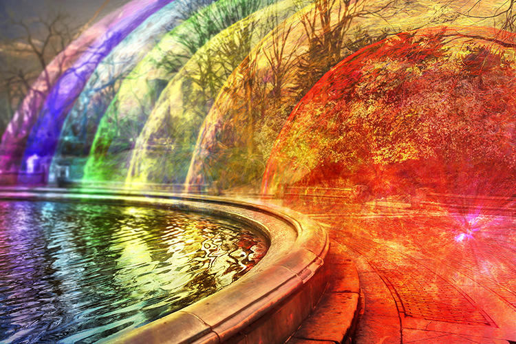 <p>The rainbow-hued results call to mind long-exposure light photography, or heat radiating off the pavement.</p>