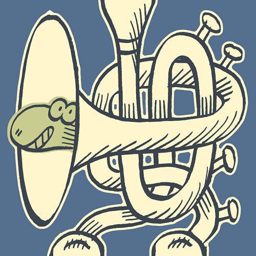 <p>…until you land on an image that does, like this cute snake concealed in the coils of a French horn. Kids (or adults) can record and inset noises at any junction of the story to help the narrative along.</p>