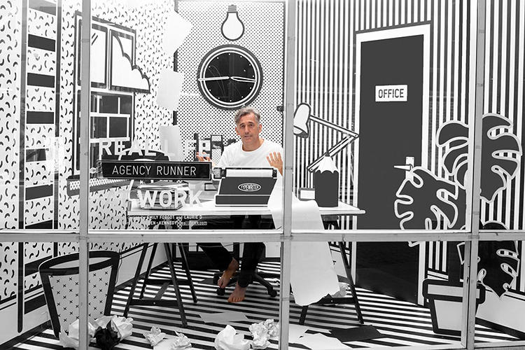 <p>Titled &quot;Real Life at Work&quot; and rendered in '60s pop art lines, Wieden + Kennedy's London storefront space looks two-dimensional until a 3-D human comes along and sits at the desk, effecting a surreal optical illusion.</p>
