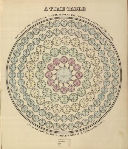 <p>It may look like a mandala, but if you peer closer you'll see that those are all tiny clocks arranged in a manner &quot;indicating the difference in time between the principal cities of the World and also showing their air-line distance from Washington,&quot; according to BibliOdyssey.</p>