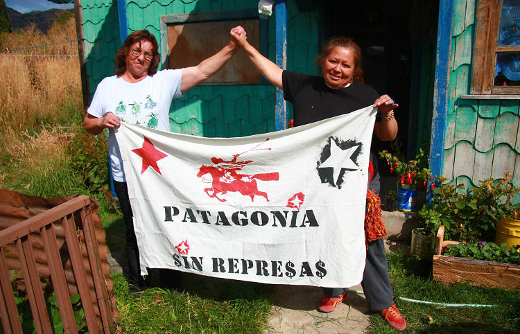 <p>Margarita Baigorría and friend proudly display their opinions. &quot;Patagonia Without Dams!&quot; reads the banner.</p>