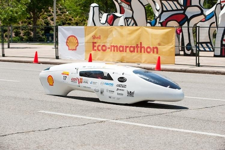 <p>The Quebec-based Université Laval team came in first place for this deceptively silly-looking vehicle, which had a best run of 2,565 miles per gallon during the marathon's two-day street course competition in downtown Houston. Yes, that's correct--this vehicle could nearly make it across the continental United States on a tank of gas. The team scored a $5,000 prize for its win.</p>