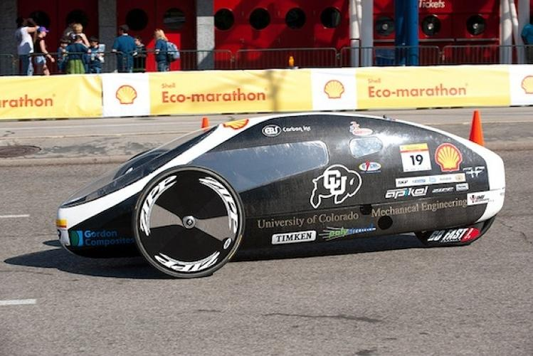 <p>The University of Colorado at Boulder's mechanical engineering students built this vehicle, which managed to pull off 1,008 mpg.</p>