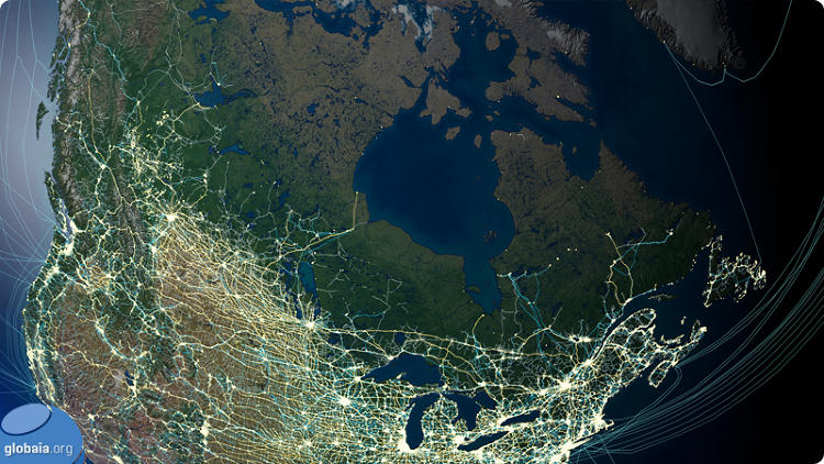 <p>The masses of North America slowly give way to the wilds of Canada.</p>