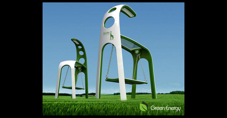 <p>A mix of a streetlight, a swing and a giraffe, this <a href=&quot;http://www.yankodesign.com/2012/02/17/swing-along-green-power/&quot; target=&quot;_blank&quot;>conceptual project</a> harnesses the kinetic energy produced each time someone swings back and forth on its seat to power a super-efficient LED light. As a backup to the kinetic energy supplied by people, the Giraffe uses an elevated solar panel hood to soak up the solar variety, storing it in a battery for later use.</p>