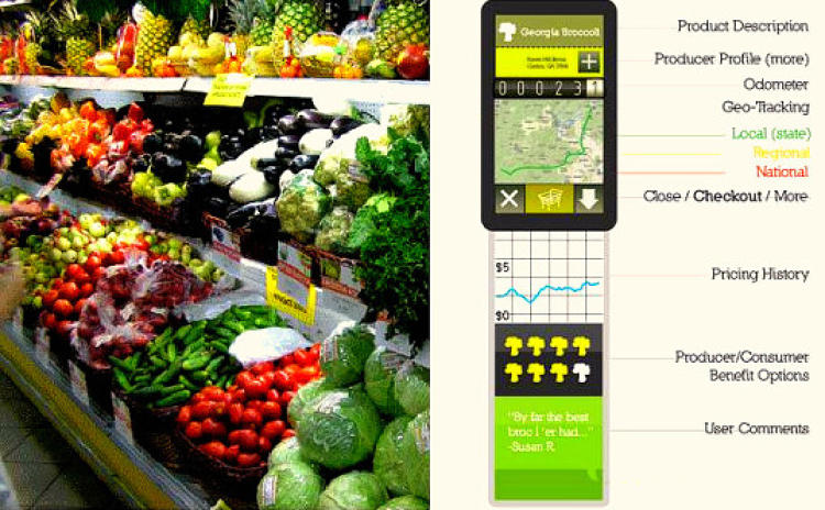 <p>Another concept app focuses on persuading its users to buy locally. Similar to Breadcrumbs, it involves scanning an item's barcode to bring up a whole litany of information on it. But, <a href=&quot;http://inhabitat.com/living-goods-barcode-app-makes-buying-local-a-breeze/&quot; target=&quot;_blank&quot;>an AUG/Living Goods app</a> would emphasize an item's seasonality, how far it's traveled to get to the store, and details on the farm at which it originated. The idea was recognized as a 2010 Greener Gadgets finalist and would encourage behavior that will benefit the environment, as well as local economies.</p>