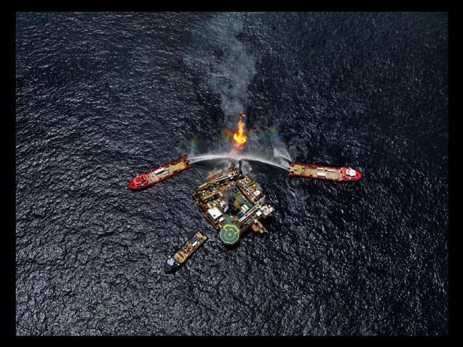 <p>Fighting an oil rig explosion.</p>