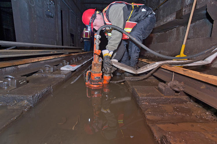 <p>Pumping water out of the flooded A Line tunnel near Dyckman Street in Upper Manhattan.</p>