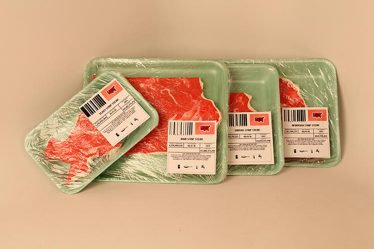 <p>Sarah Hallacher's <em>Beef Stakes</em> shows the beef production stats of America, sculpted in convincing looking cuts of meat.</p>