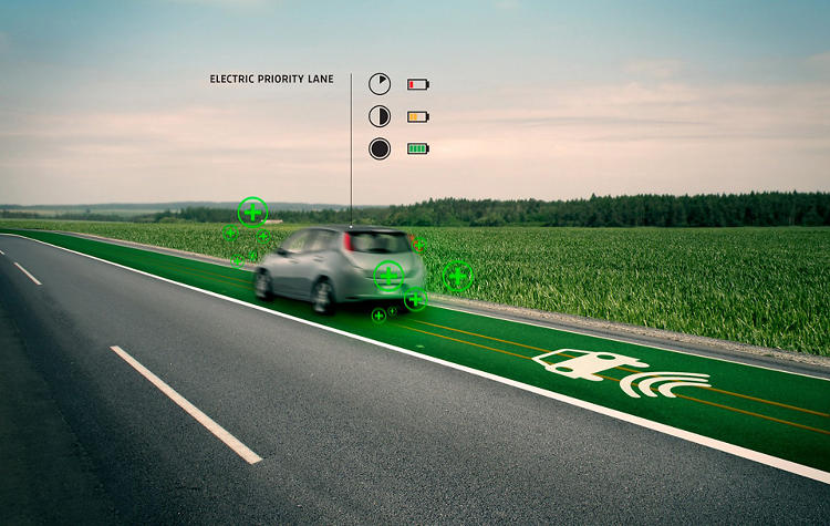 <p>Under-road induction coils would charge electric cars as they drive.</p>