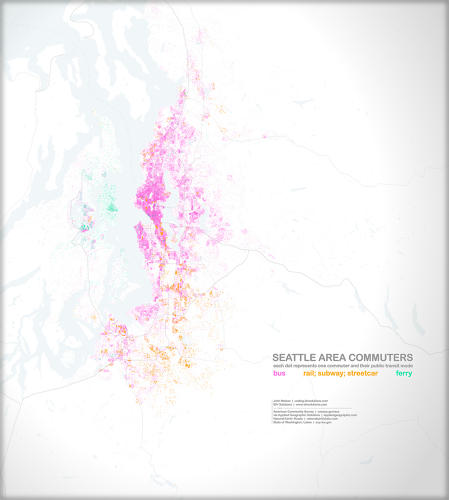 <p>Public transit methods of getting there and back. Each dot is one commuter, and how they get around.</p>