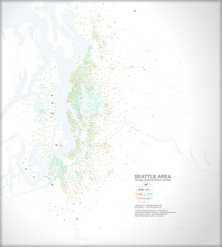 <p>Not a people dot map, but a useful companion. This shows the average commute times around the area.</p>