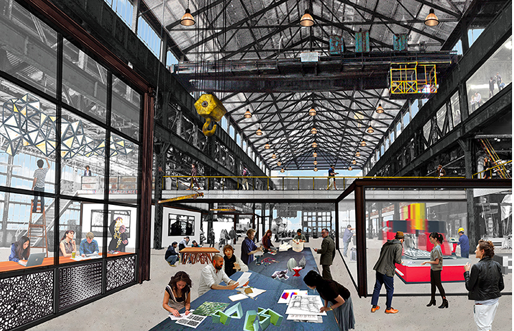 <p>The space will likely be one of the most prominent examples resilient architecture in New York City. The cavernous space in the Navy yard, once a repair shop for Navy ships, experienced flooding during Hurricane Sandy. Macro Sea, like most sane entities, expects megastorms to be a regular occurrence and are designing to be ready.</p>