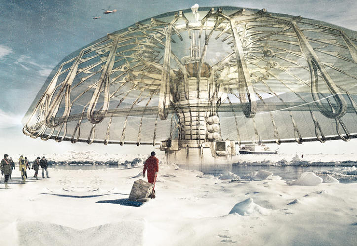 <p>Created by Derek Pirozzi, the first-place-winning Polar Umbrella arctic skyscraper is a floating metropolis outfitted with ecological habitats, renewable power stations, a thermal skin, and most importantly, a system that &quot;regenerates the ice caps using harvest chambers that freeze the ocean water.&quot;</p>