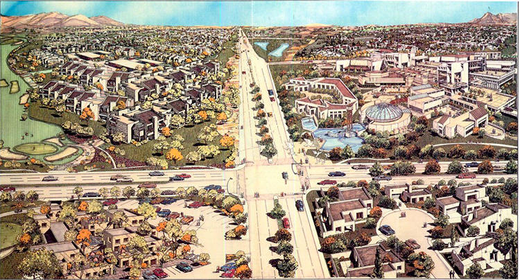<p>They would build the largest and most ambitious New Urbanist development in the Southwest. These are the plans from the 1980s, when the idea was first conceived.</p>