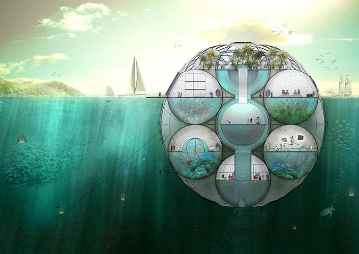 <p>It's &quot;a semi-submersible center, moored to the seabed with a system of cables&quot; that would both house researchers and grow carbon-dioxide absorbing phytoplankton.</p>