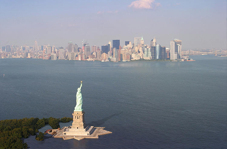 <p>Liberty Island is a lot smaller now.</p>
