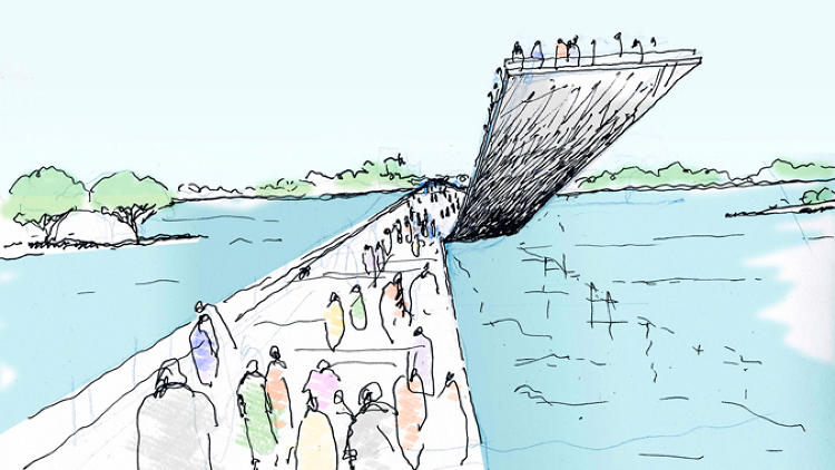 <p>Among those interventions: a series of pedestrian pathways across the car-dominated Key Bridge that allow people to dwell within the bridge's crevices and arches; a new water-facing terrace for the Kennedy Center; and Paddleshare, a boat-sharing service similar to Zipcar.</p>