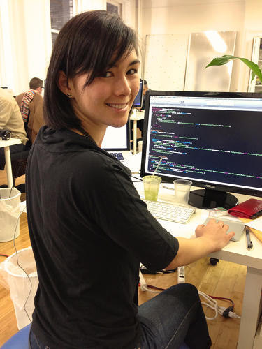 <p>She didn't learn to code until her senior year--when she needed to build a site but couldn't find help--at which point she and a friend learned the script language PHP and built it themselves.</p>