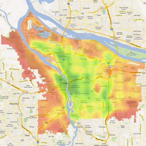 <p>1: Portland (Bike Score: 70.3)</p>  <p>In these maps, the most bikeable areas are in green, with the least bikeable in dark red.</p>