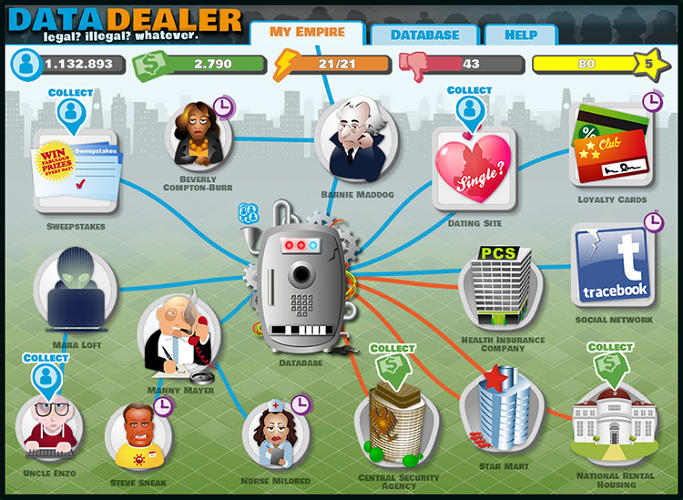 <p>Data Dealer is an fun online game with a serious message: Who has your data? Does it matter that they have it?</p>