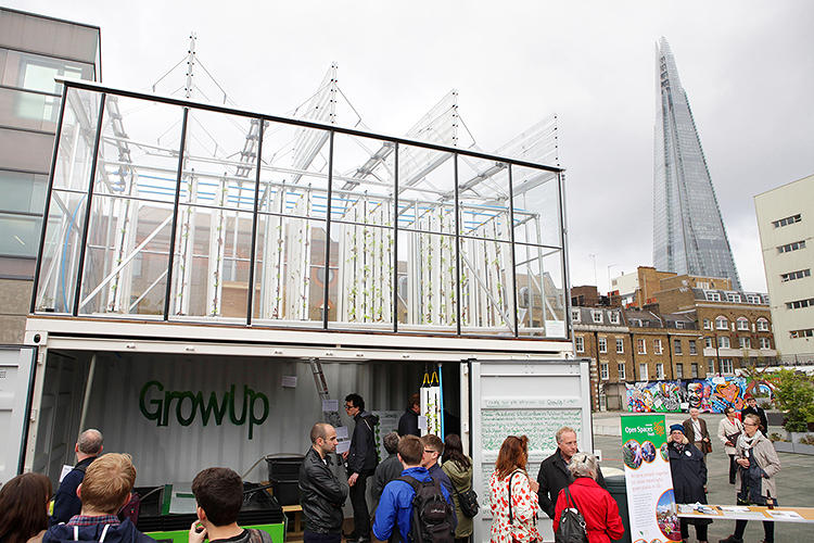<p>A modified, upcycled shipping container with a greenhouse on top--dubbed the GrowUpBox--is producing both fresh vegetables and fresh fish in a London Park.</p>