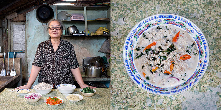 <p>Carmen Alora, 70 years old, – El Nido, Philippines. Kinunot (shark in coconut soup).</p>