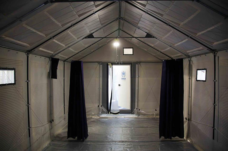 <p>The shelter is made from a new type of polymer siding called Rhulite that lets light in during the day but keeps light from casting embarrassing shadows outside during the night--a privacy concern with the current UN tents that leads to many refugees extinguishing what little candle- or kerosene-lighting they can afford.</p>