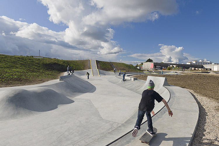 <p>Rabalder parken is both a skate park and a stormwater drainage system that can hold up to 23,000 cubic meters, or 10 swimming pools of rainwater.</p>