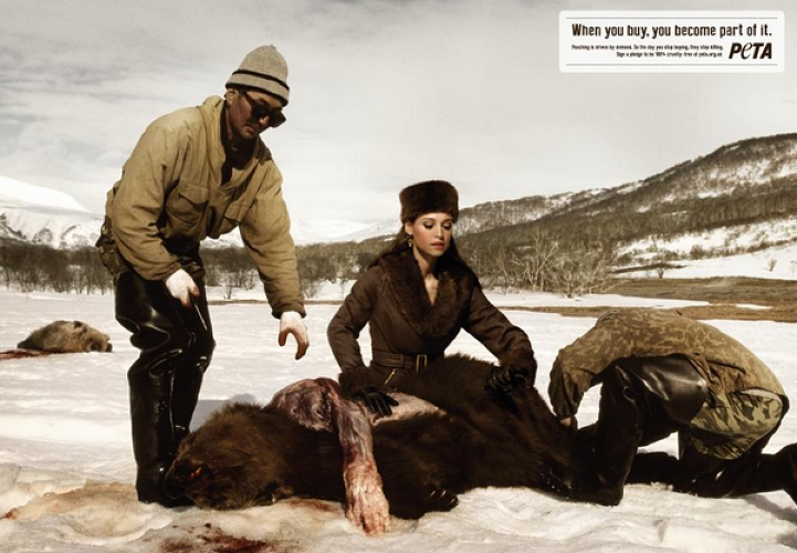 <p>PETA's new ads takes the oblivious consumers of zebra fur and alligator skin to the scene of the animals' deaths.</p>