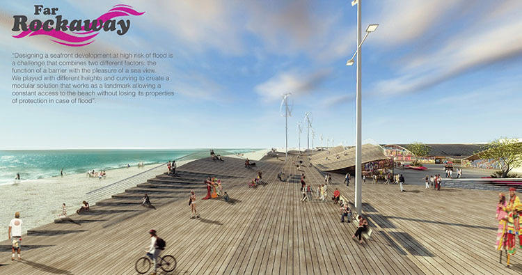 <p>Four architecture firms are competing to design a new, resilient beachfront for the Far Rockaways neighborhood that was heavily damaged during hurricane Sandy. Seeding Office created an undulating boardwalk structure that would help manage waves.</p>