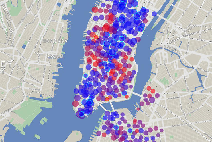 <p>Oliver O'Brien has created a site that has live maps of most of the bike sharing systems from around the world. Here is New York.</p>