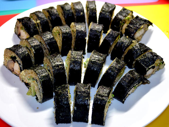 <p>The scientists also crowdsourced recipes from the public, using only a list of &quot;shelf-stable&quot; ingredients that could survive the trip to Mars, and the conditions once there. These are &quot;Angelo's Veggie Sushi Rolls.&quot;</p>