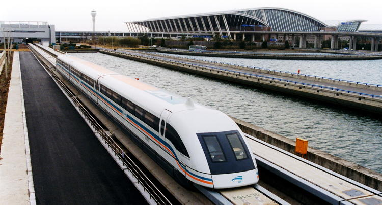 <p>The Shanghai Maglev Train ensures that travelers to and from the sprawling city can reach the airport quickly. The 18-mile trip, at operational speeds of more than 260 mph, lasts only eight minutes. The train can fly up to 311 mph, making it one of the fastest in the world.</p>
