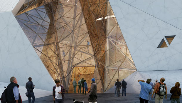 this rock climbing gym resembles a big rock co design