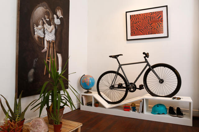 This furniture doubles as beautiful bike storage for tiny apartments co exist ideas impact - Bike storage small space design ...