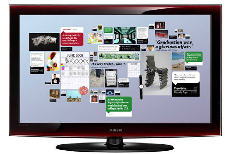 <p> Renderings of RISD's electronic bulletin boards, 2008.  </p>