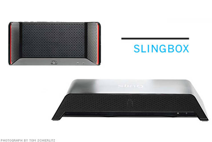 <p> <strong>From NewDealDesign:</strong> Plug in your cable connection and stream TV live to your laptop anywhere with Slingbox. The distinctive shapes and colors make even a humble set-top box look cool.  </p> <p> <strong>$130</strong>  </p>