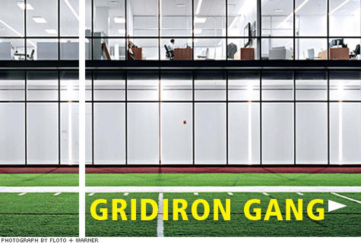 "<p>Executive offices look out over the indoor practice field <strong>to remind the suits of their shared mission</strong>. ""This building,"" says Jets EVP Sheely, ""is the graduate school of football.""</p>"